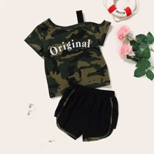 Toddler Girls Letter & Camo Print Top With Track Shorts