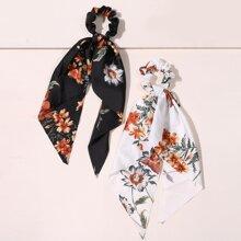 2pcs Floral Print Scrunchie Scarf