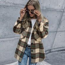 Mantel mit Karo Muster, einreihiger Knopfleiste und Taschen Klappen