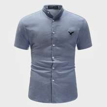 Men Mock Neck Embroidery Eagle Shirt