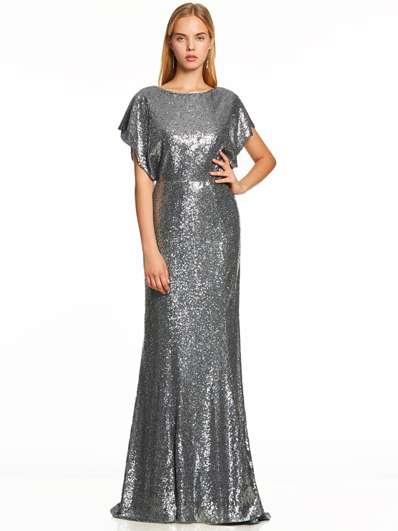 Ericdress Cap Sleeves Backless Sequins Evening Dress