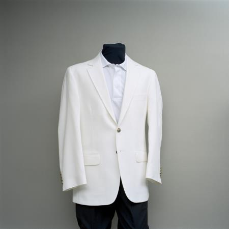 Mens 2 Button Blazer White with brass gold buttons sportcoat