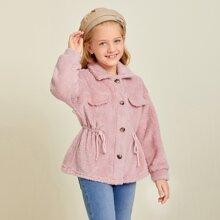 Girls Button Front Drawstring Waist Teddy Coat