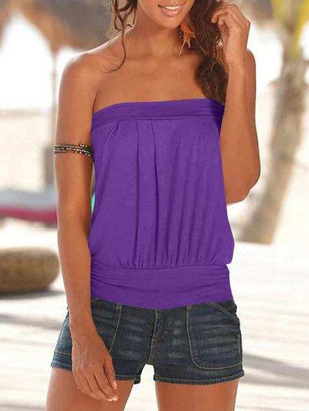 Yoins Purple Pleated Design Strapless Sleeveless Cami