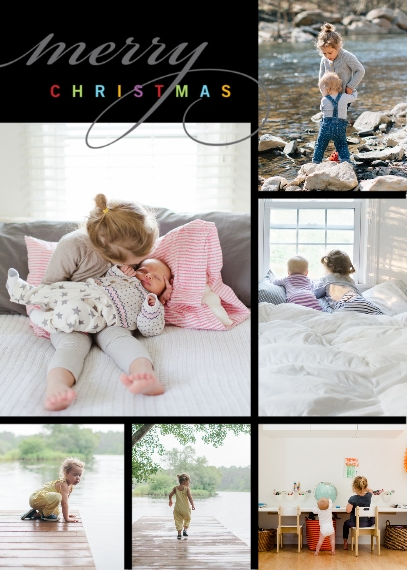 Christmas Photo Cards 5x7 Folded Cards, Premium Cardstock 120lb, Card & Stationery -Posh Paper Merry Moods folded