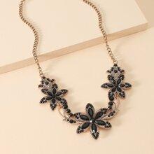 Gemstone Flower Charm Necklace