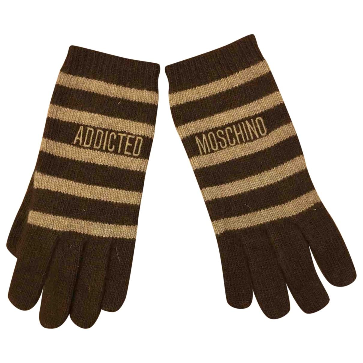 Moschino - Gants   pour femme en laine - marron