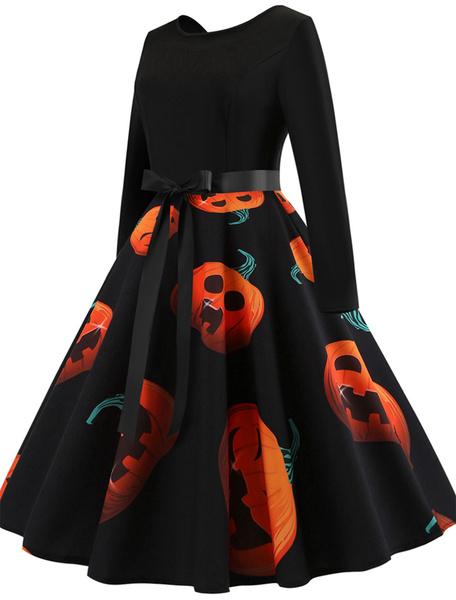 Milanoo Women Vintage Dress 1950s Swing Dress Printed Long Sleeve Retro Dress