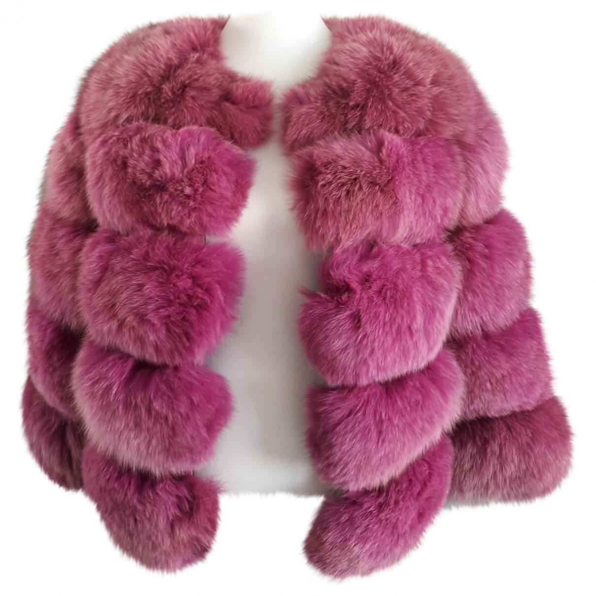- Manteau   pour femme en renard - rose