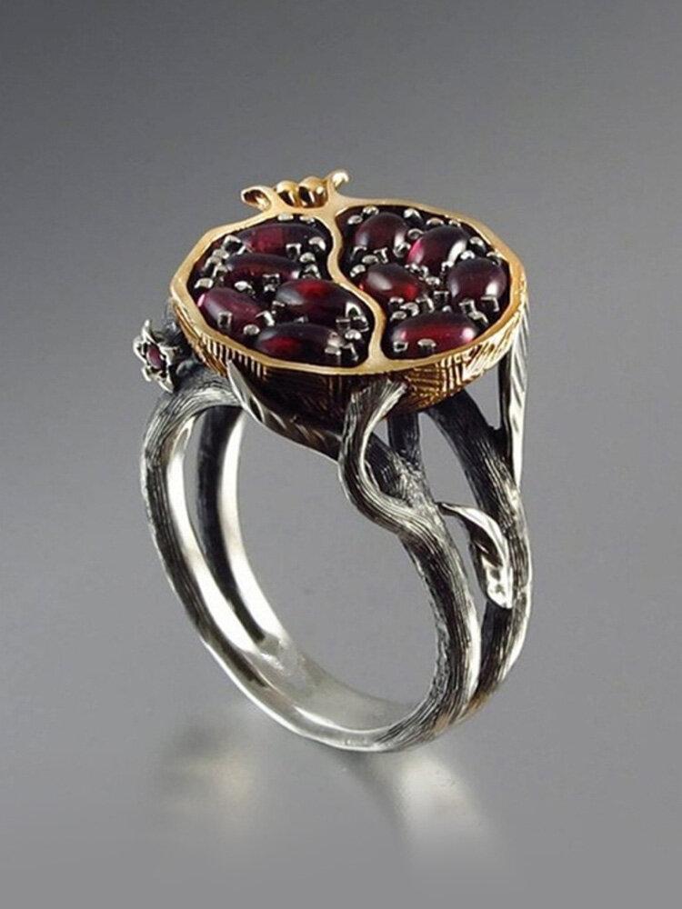 Vintage Garnet Tree Vine Ring Color Separation Flower Leaf Women Ring