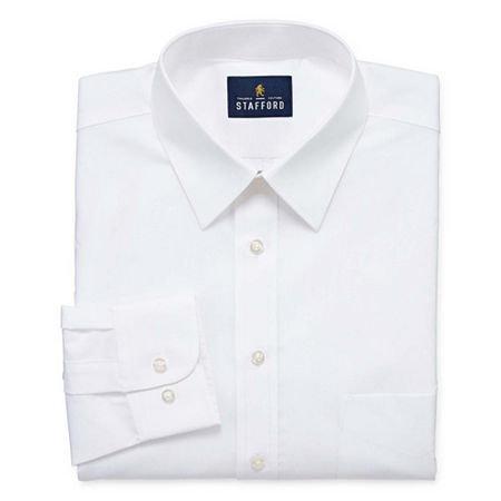 Stafford Mens Wrinkle Free Stain Resistant Stretch Super Shirt Big and Tall Dress Shirt, 19 34-35, White