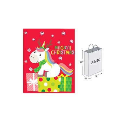 Christmas Matte with Glitter Gift Bag - Jumbo Size,13''x 18''x 4