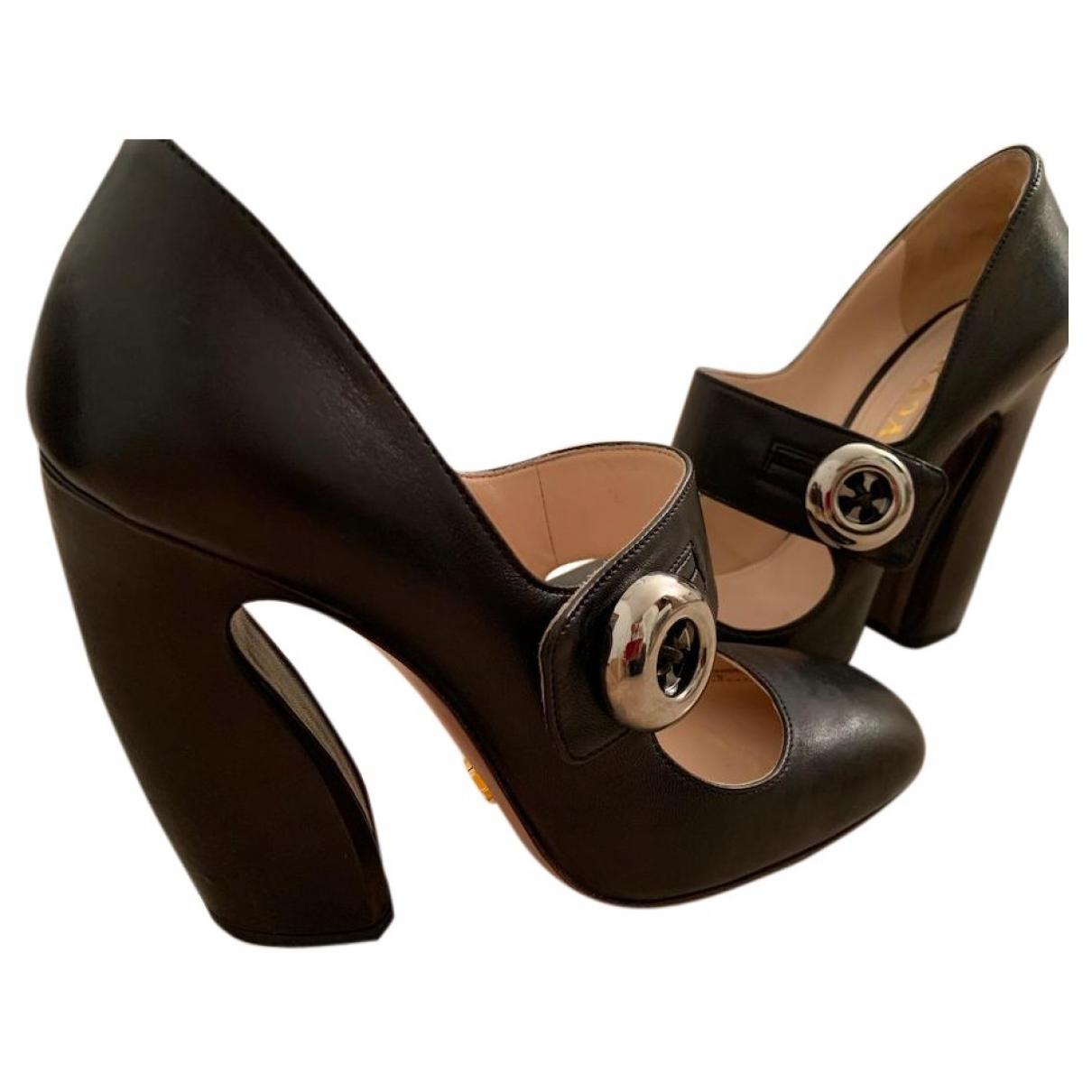 Prada - Escarpins Mary Jane pour femme en cuir - noir