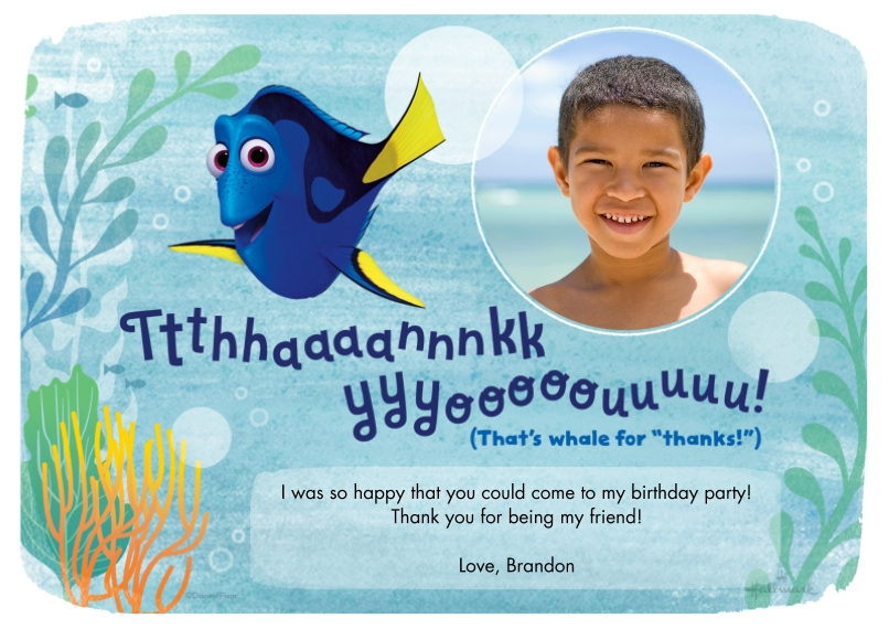 Kids Thank You Cards Flat Matte Photo Paper Cards with Envelopes, 5x7, Card & Stationery -Whale for Thanks - Finding Dory
