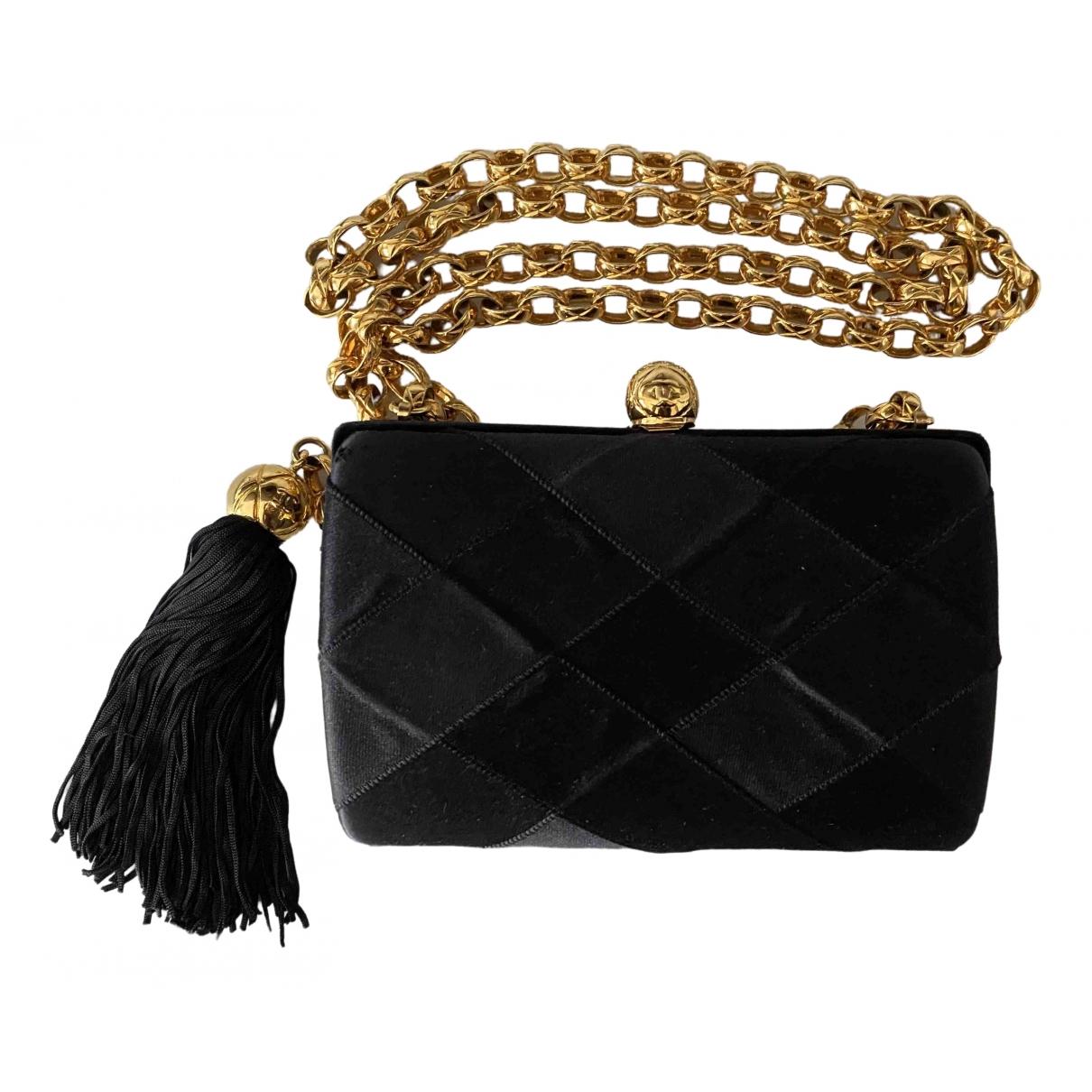 Chanel - Pochette   pour femme en soie - noir