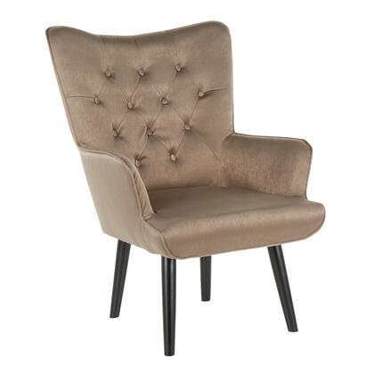 CHR-ISABEL BKBN Isabel Contemporary Accent Chair in Black Wooden Legs and Brown Satin
