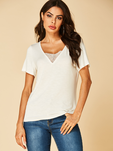 YOINS White Lace Insert V Neck Short Sleeves Tee