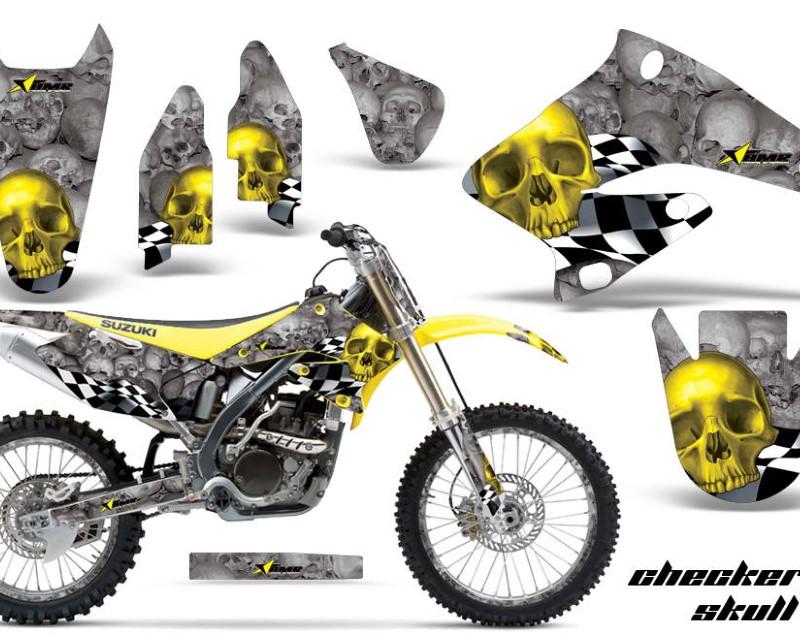 AMR Racing Graphics MX-NP-SUZ-RMZ250-04-06-CS Y S Kit Decal Sticker Wrap + # Plates For Suzuki RMZ250 2004-2006 CHECKERED YELLOW SILVER