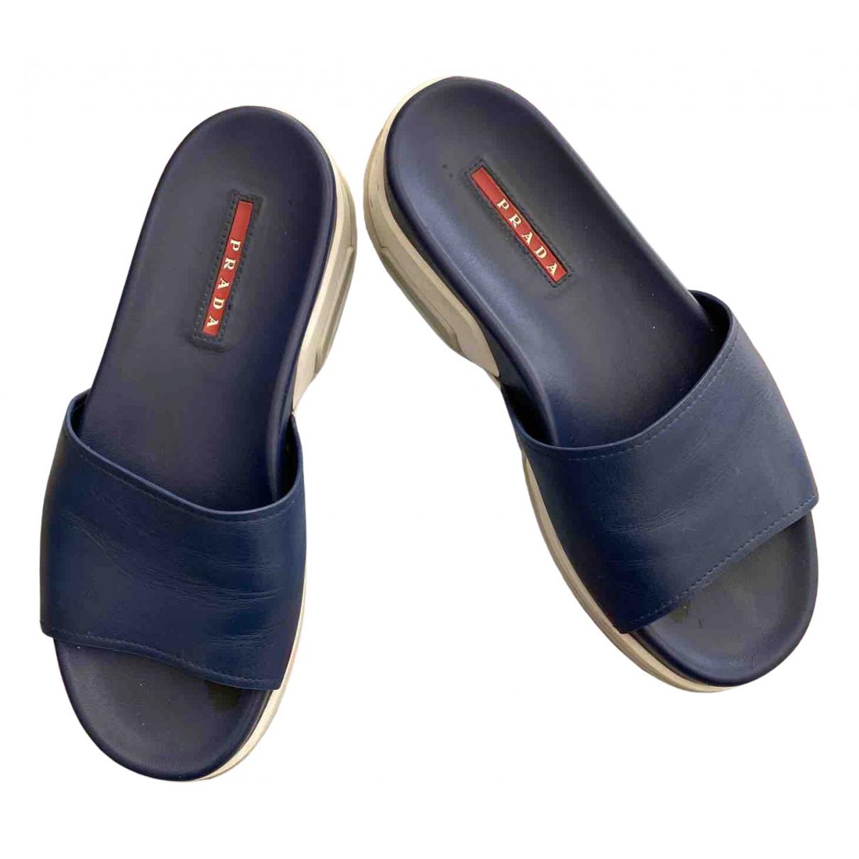 Prada - Sandales   pour femme en cuir - bleu