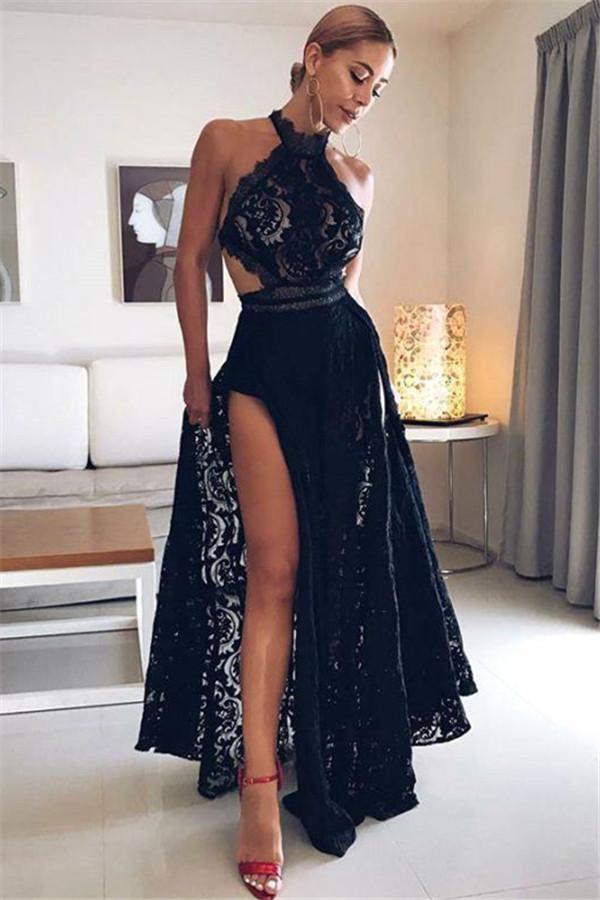 Robes de Soiree Sexy en Dentelle Noire avec Halter Pas Cher | 2021 Robe de bal longue fendue dans le dos avec dos ouvert