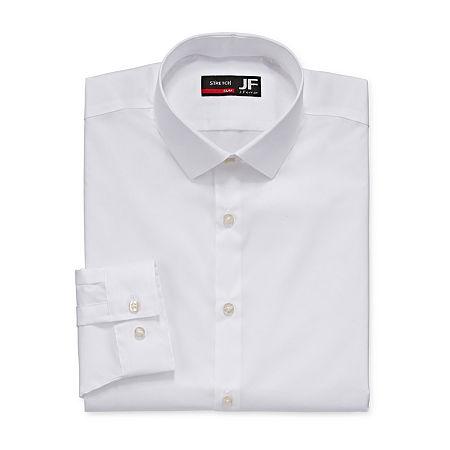 JF J.Ferrar Easy-Care Coolmax Mens Point Collar Long Sleeve Stretch Cooling Dress Shirt, 14-14.5 32-33, White