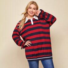 Sweatshirt mit Polo Kragen, Kordelzug und Streifen