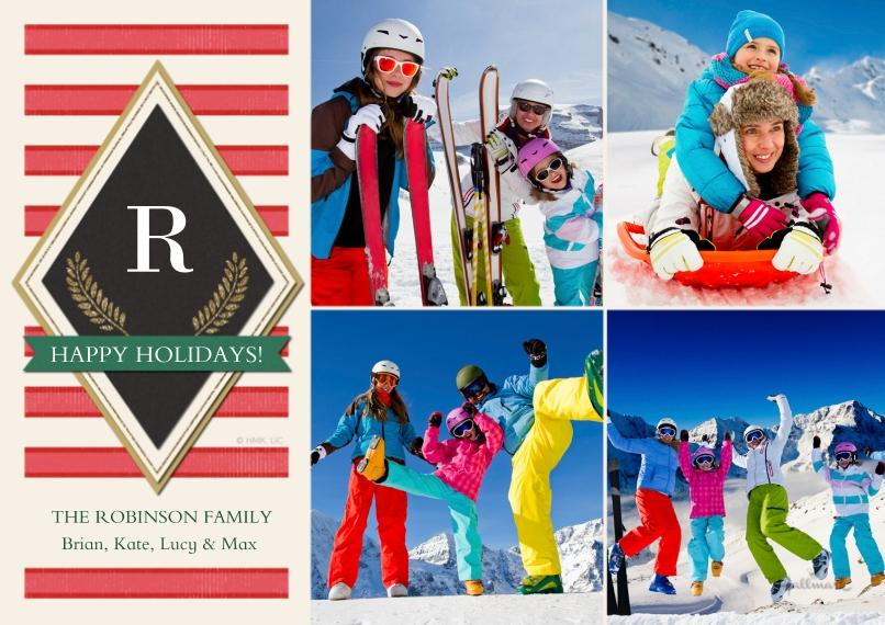 Christmas Photo Cards 5x7 Cards, Premium Cardstock 120lb, Card & Stationery -Modern Monogram Stripes
