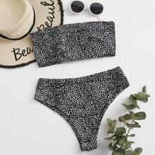 Dalmatian Lace-up Back Bandeau Bikini Swimsuit