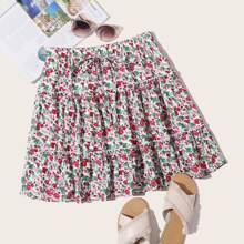 Falda a capas floral de margarita de cintura con cordon
