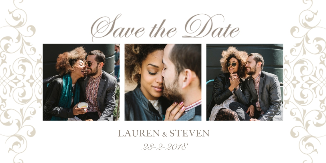 Save the Date Flat Matte Photo Paper Cards with Envelopes, 4x8, Card & Stationery -Wedding Flourish - Save The Date
