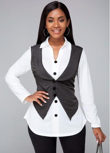 Button Detail Color Block Turndown Collar Shirt - XL