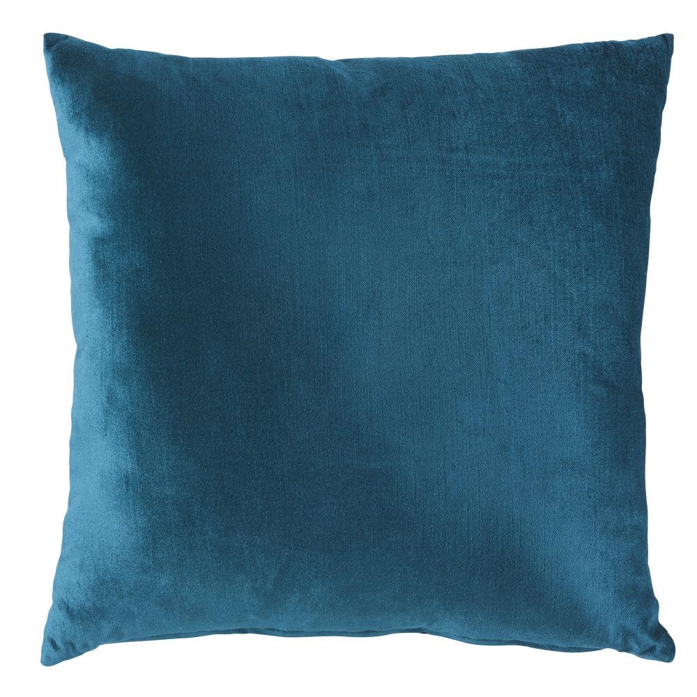 Kissen aus blaugruenem Samt 45x45