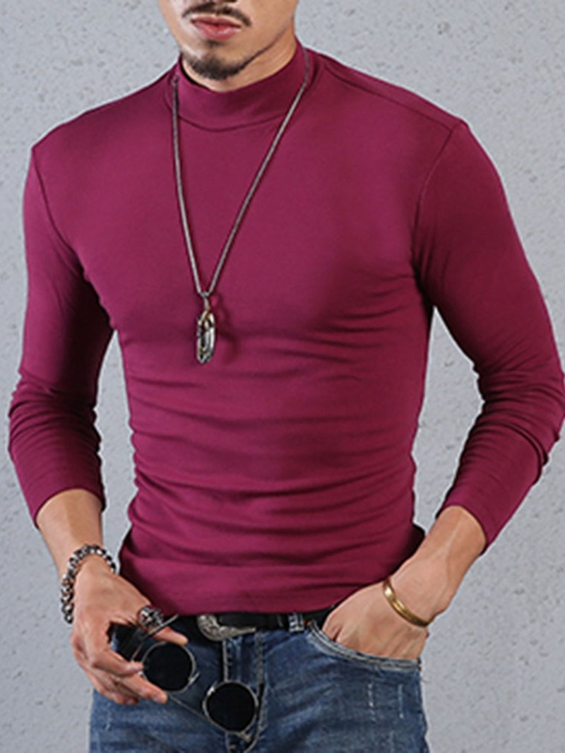 Ericdress Plain Casual Stand Collar Slim Long Sleeve T-shirt