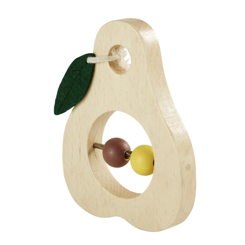 Spielbirne aus Buchenholz, Gelb und rosa