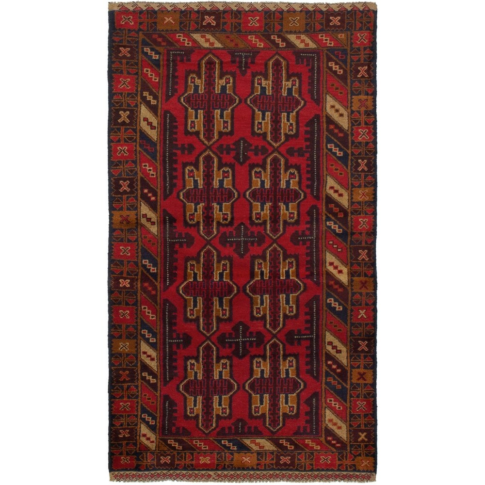 ECARPETGALLERY Hand-knotted Teimani Red Wool Rug - 36 x 610 (Red - 36 x 610)