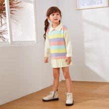Pullover Kleid mit Streifen Muster und Falten am Saum