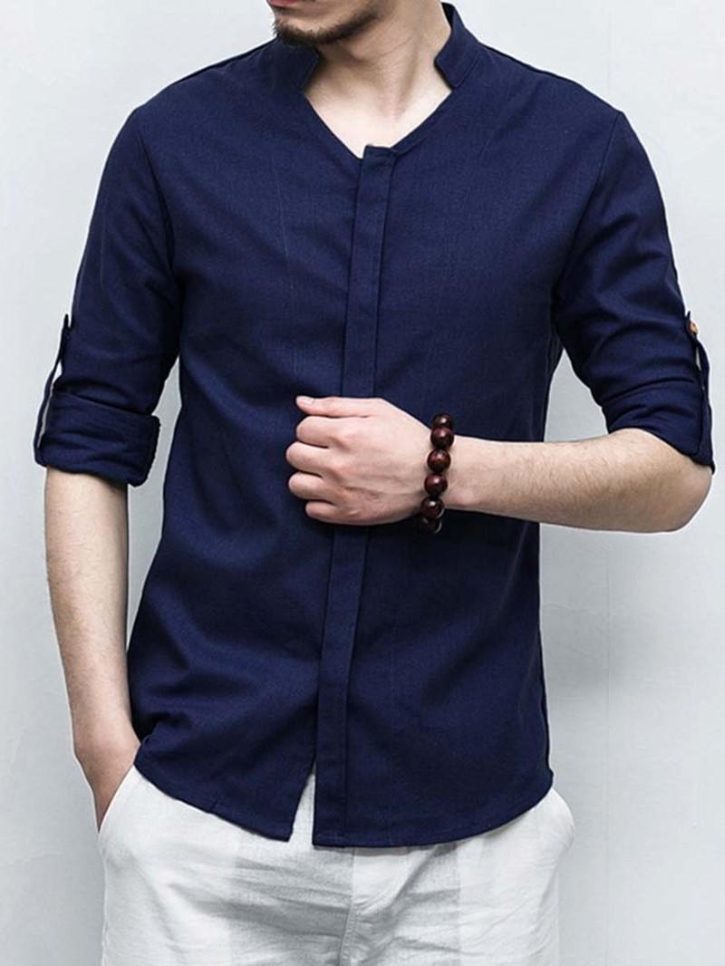 Ericdress Stand Collar Plain Casual Slim Fall Shirt