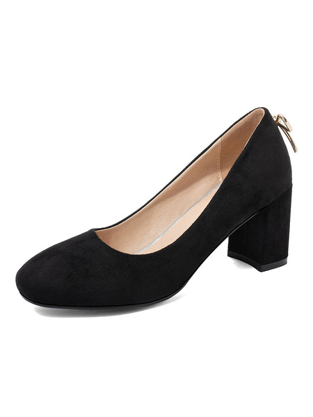 Milanoo Square Toe High Heels Chunky Heel Pumps Plus Size Shoes In Black