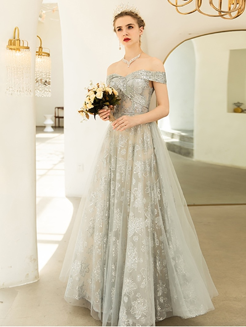 Ericdress Off-The-Shoulder Lace A-Line Short Sleeves Prom Dress 2020