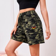 Tie Front Butterfly Patched Camo Shorts