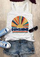 Sunshine Rainbow O-Neck Tank - Light Grey