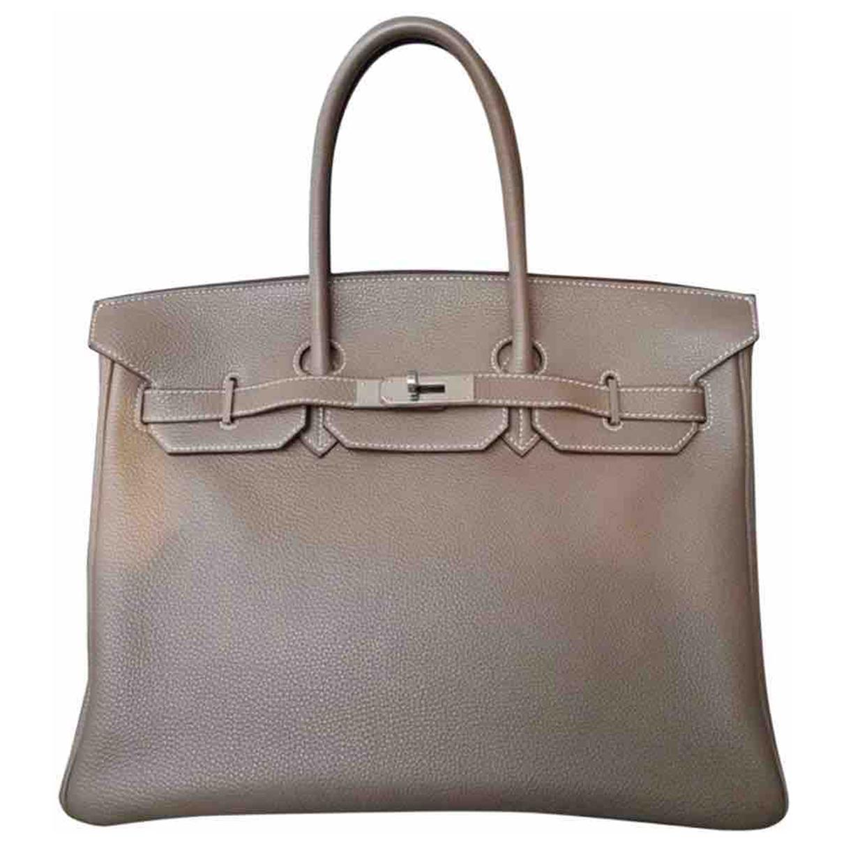Hermes Birkin 35 Handtasche in  Beige Leder