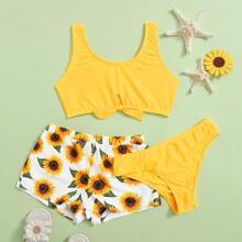 3 Stuecke Maedchen Bikini Badeanzug mit Sonnenblumen Muster