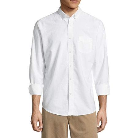 Arizona Mens Long Sleeve Button-Down Shirt, Large , White