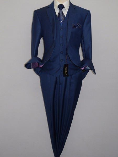 Mens Royal Blue Three Piece Notch Lapel Shiny Sharkskin Vested Suit