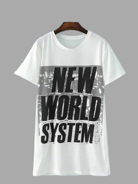 Yoins White NEW WORLD SYSTEM Print Longline Loose T-shirt