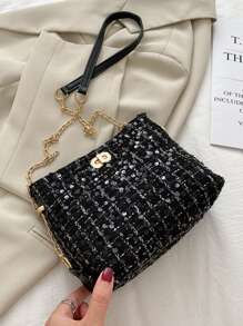 Sequin Plaid Chain Crossbody Bag