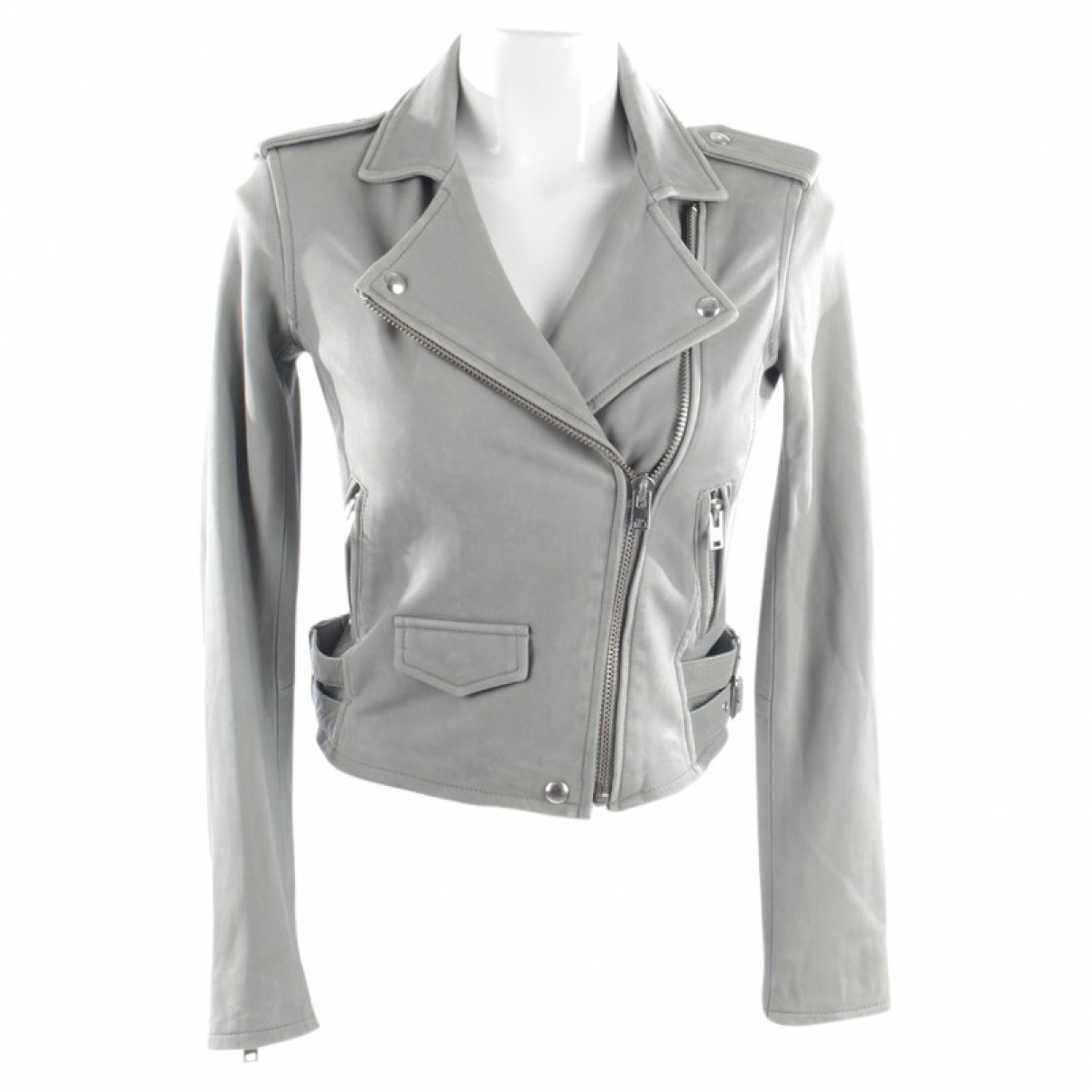 Iro \N Grey Leather jacket for Women 34 FR