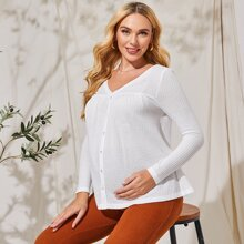 Maternity Button Front Waffle Knit Top