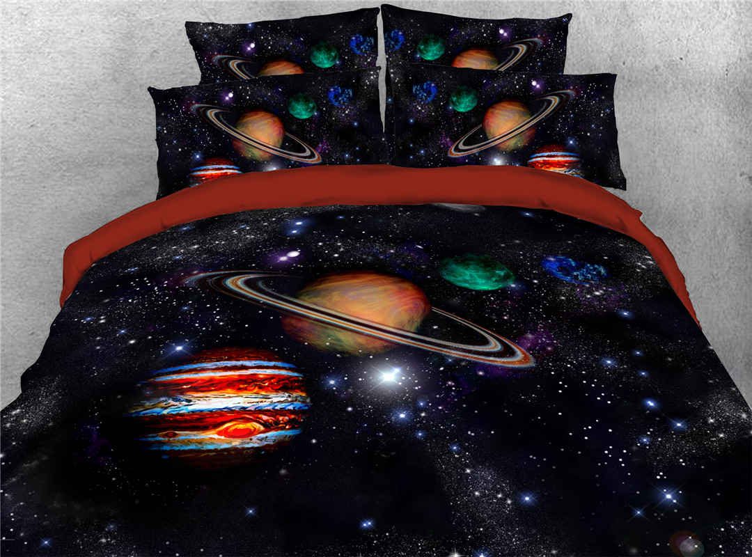 Galaxy Planet Star Solar System Pattern Super Soft Lightweight Four Size for Kids Adults All Season Reactive Printing Machine Wash Comforter Set Five-